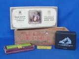 Wood Cheese Box, Empty RCA Victor Box, Empty Yardley Box, Bohm's Special Harmonica