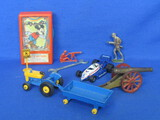 Mixed Lot of Small Toys: Matchbox Tractor & Trailer, Cast Iron Cannon, Soldiers