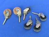 "Set of 4 Casters w Wheels 1 1/4"" in diameter – 2 Castors with Wood Wheels – 1 1/2"""