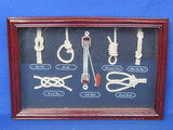 "Framed Display of Nautical Knots – Wood Frame is 11 3/4"" x 8"""
