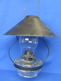 "Hanging Oil Lamp – Wick Wheel marked ""P&A Mfg"" Eagle Burner  - 20"" long when hung"