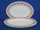 "3 Oval Platters by Pyrex – Copper Filigree Pattern – 11 1/2"" x 8"""