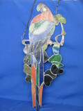 "Large Stained Glass Parrot Sun Catcher with Chains – 23 1/2"" long"