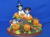 """Cute Halloween Decoration – Pumpkins & Puppies – Lights Up – 7 1/4"""" wide"""