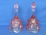 "Pair of Fenton Glass Bells – Lily of the Valley in Rose Pink – Both have Stickers – 6 1/4"" tall"