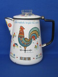 "Enamel Coffee Pot ""Coffee maketh bright the spirit"" Rooster by Berggren – 8"" tall"