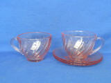 12 Cup & Saucer Sets: Pink Glass by Arcoroc – Swirl Pattern – Made in France