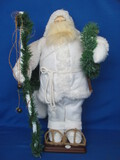 "Decorative All White Santa Claus on Wood Base – 19"" tall"