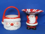 "2 Ceramic Pieces ""Snowball Buddies"" Santa Claus Basket & Candy Dish – Taller is 6 1/2"""