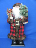 "Decorative Santa Claus on Wood Base – Faux Fur Trim  – 19"" tall"