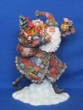 "Resin Santa Claus Figurine ""Santa's Coat of Colors"" by Stewart Sherwood – 1999 – 10"" tall"