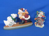 "2 Resin Santa Figurines: 1999 David Frykman & 1998 Crinkle Claus – Larger is 8 1/2"" wide"