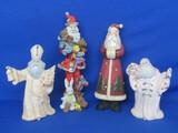 "Lot of Santa Figurines: Ceramic, Resin & 1 Wood & Ceramic – Tallest is9"""