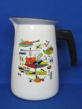 "Enamel Pitcher with Colorful Food Motifs – 8 1/4"" tall"