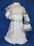 "Large Lightweight Santa Figurine w Plastic Insert – White & Silver  - 30"" tall"