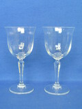 "Pair of Elegant Wine Glasses – 6 1/2"" tall – Unknown Maker"