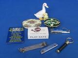 Misc Lot: Grain Belt Beer Opener, Key Glass Holder, Key Chain, Wood Egg & more