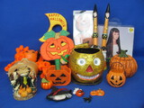Large Lot of Halloween Items: Paper Mache Basket, Pumpkins, Wig & more