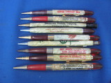Lot of 9 Vintage Mechanical Pencils w/ Advertising – As shown