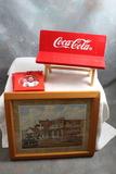 3 Vintage Coca Cola Items 2000 Dale Earnhardt Ornament, General Store Framed