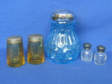 Shakers: Blue Moon & Stars Sugar by Smith, Amber Sharon by Federal Glass, Etched Pair