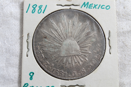 1881 Mexico 8 Reales Silver .903 Coin