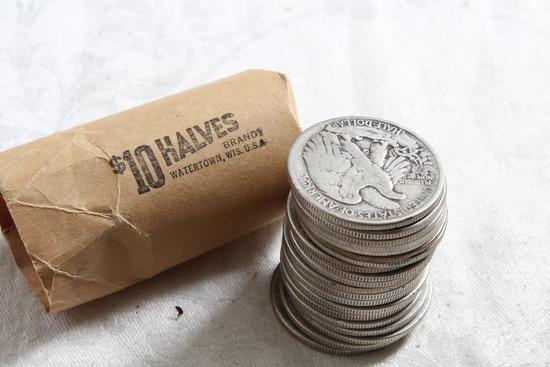 Ten Dollar Roll of SILVER Half Dollars Liberty and Franklin Halves