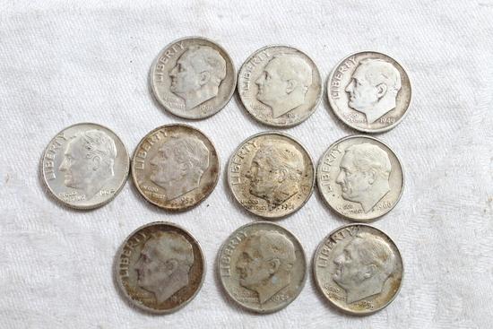 10 Vintage Franklin Roosevelt Silver Dimes