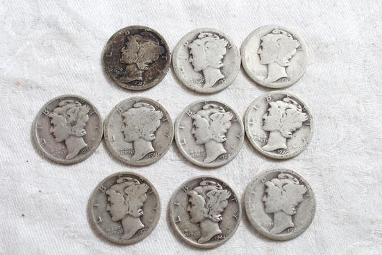 10 Vintage Mercury Silver Dimes
