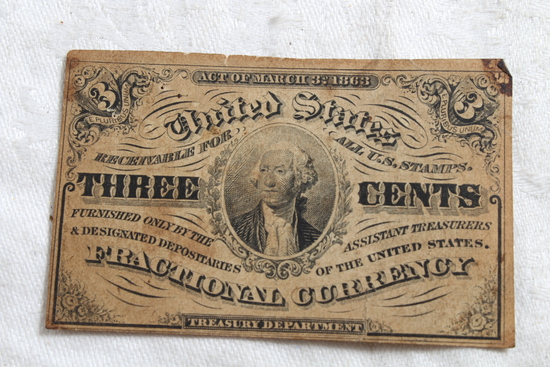1863 United States Fractional Three Cents Bill
