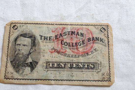 The Eastman College Bank Pouchkeepsie, N.Y. Ten Cents Fractional Bill