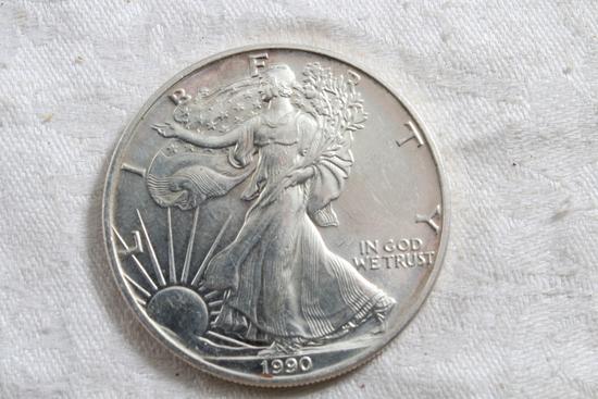 1990 One Ounce Fine Silver Eagle Dollar Coin