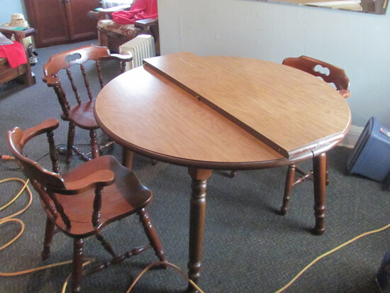 "Round Table w/ 4 wood chairs and Leaf (11 3/4"" W) 47"" Diam x 29"" T -"