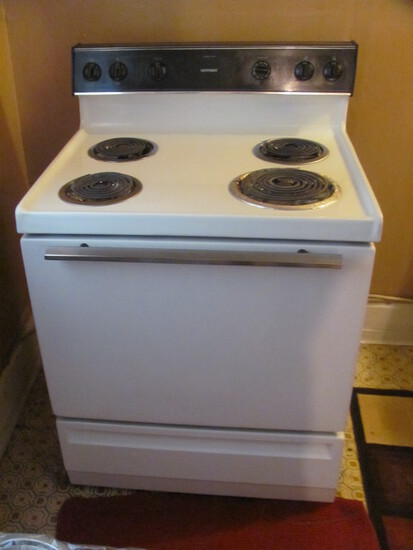 "Hot Point Electric Stove White/Black 29 1/2"" W x 24 1/2"" D older but functioning"