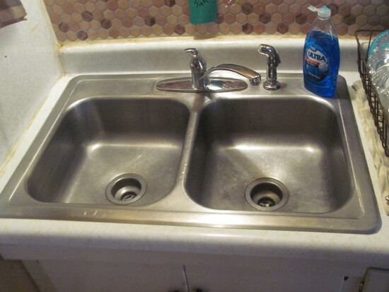 "Stainless Steel Double Sided Kitchen Sink w/ faucets 33"" x 22"""