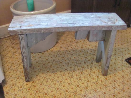 "Primitive Wood Bench 34"" L x 22"" T x 9 1/4"" W"