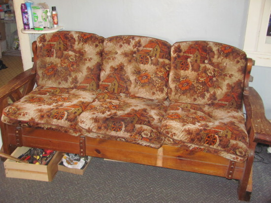 "1970s Couch w/ Country Scene – 80"" L x 33"" D x 36"" T at Back"