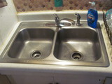 """Stainless Steel Double Sided Kitchen Sink w/ faucets 33"""" x 22"""""""
