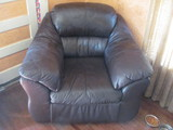 """Brown Leather Chair 42"""" W x 38"""" D (Matches Couch)"""