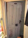 """Wooden 4 Panel Door – Original Hardware – Look 27"""" x 71"""" - Stairway to basement"""