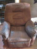 """Brown Suede Recliner – 35"""" W x 39"""" T x 38"""" D as shown"""