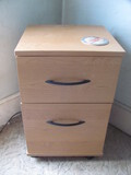 """2 Drawer Wood File Cabinet on wheels 15"""" x 15 1/2"""" x 25"""" T"""