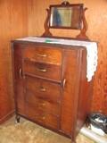 Antique Wood 5 Drawer Dresser w/Mirror and 2 Side Doors & Original Hardware