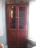 """Corner Curio Cabinet (Homemade by Owner's Dad) 34"""" W x 18"""" D x 82"""" T"""