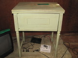 """Empty Sewing Machine Cabinet Painted Mint Green 24"""" w x 17 1/2"""" d x 30"""" t"""