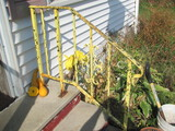 """Metal Railing – Remnants of Yellow Paint 35 1/2"""" Long 30"""" Tall – for stairs"""