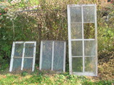 """3 Old Windows – Largest is 63"""" x 25"""" (missing 1 pane of glass)"""