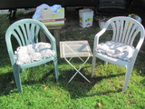 """Plastic Chairs (1 green, 1 gray) & Metal Side Table (16"""" x 16"""")"""