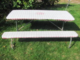 """Picnic Table – Painted Wood covered w/table cloth – 6' L x 57"""" W x 27"""" T"""