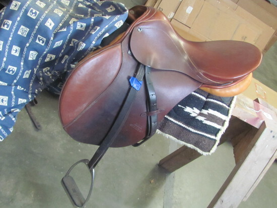 """Stubben 17.5"""" Brown Leather Saddle w/stirrups and cover (see lot 13 for pad)"""